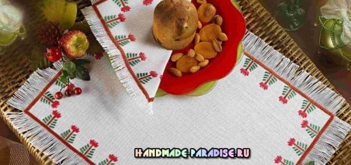 Схемы новогодней вышивки для салфеток