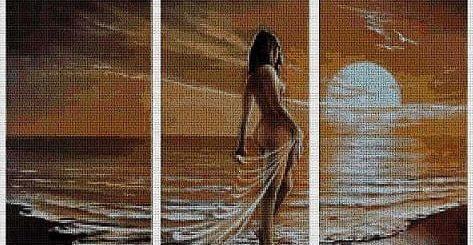 Вышивка крестом. Триптих. Девушка у моря