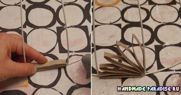 Абажур из рулонов от туалетной бумаги (10)