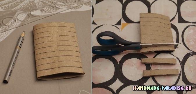 Абажур из рулонов от туалетной бумаги (4)