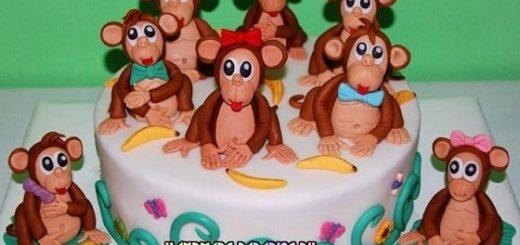 Детский торт с обезьянкой из сахарной мастики
