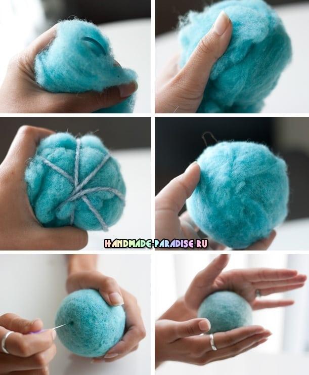 Baleia azul na técnica de feltragem seca de lã