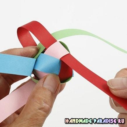 Плетение шарика для новогодней гирлянды (9)