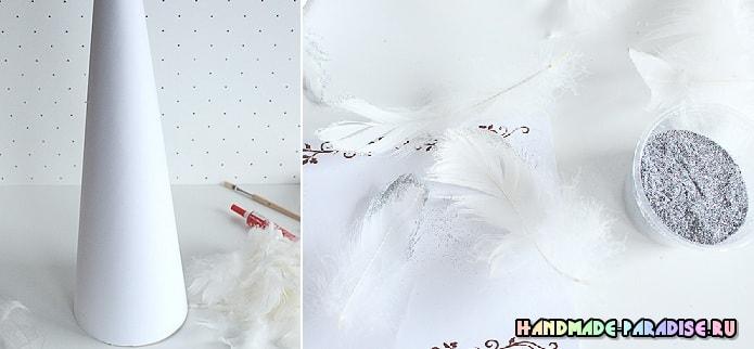 Новогодние елочки из перьев (2)