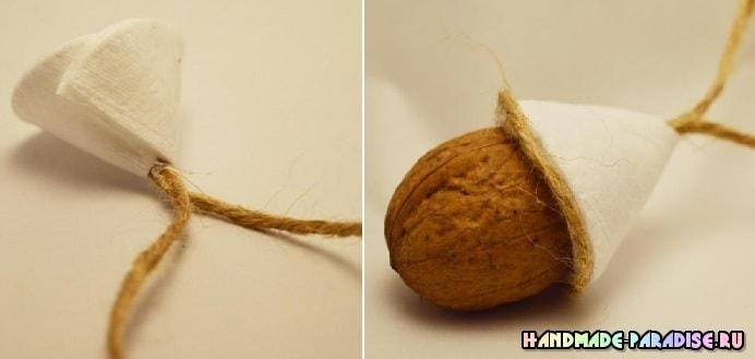Птички из грецких орехов - подвески для елочки (3)