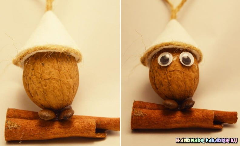 Подвески - птички из грецких орехов (4)