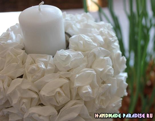 Подсвечник с розами из кальки (11)