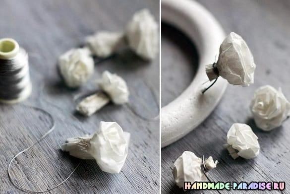 Винтажный венок с розами из кальки (4)