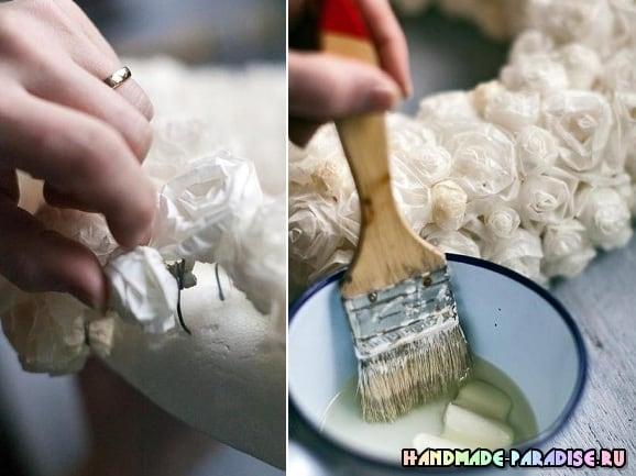 Винтажный венок с розами из кальки (5)