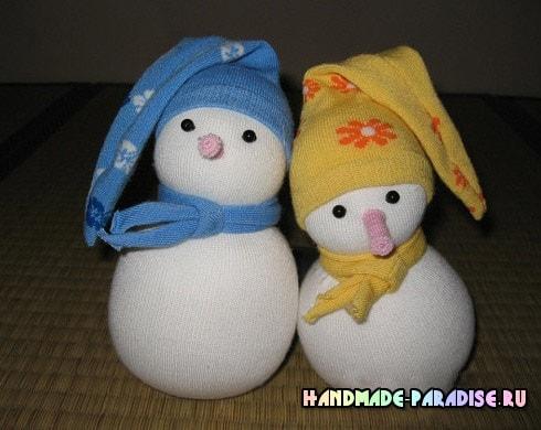 Снеговик из носков. Мастер-классы