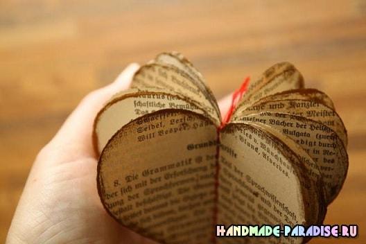 Винтажные подвески из книжных страниц (12)