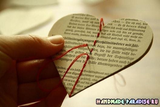 Винтажные подвески из книжных страниц (5)