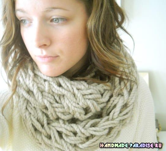 Большой теплый шарф. Вязание без спиц, на руках (2)