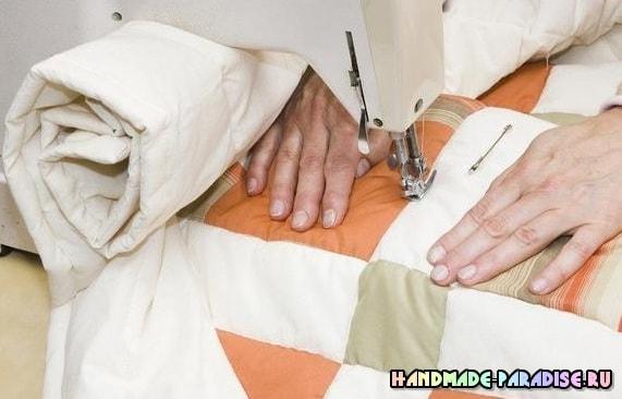 Как сшить теплое одеяло в технике пэчворк (9)