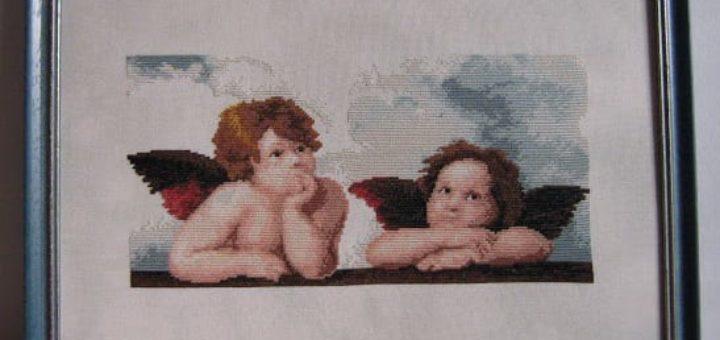 Вышивка ангелов. Схема фрагмента Сикстинской мадонны Рафаэля