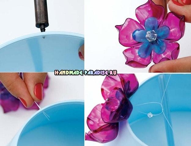 Декорирование абажура цветами из пластиковой бутылки (4)