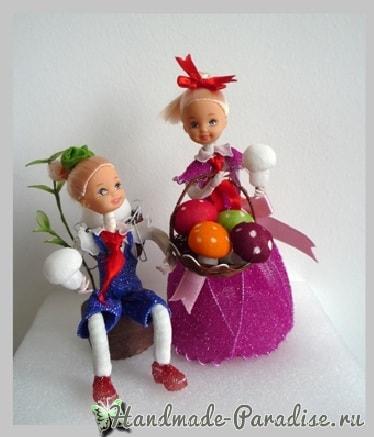 Грибочки и земляника из капрона (9)