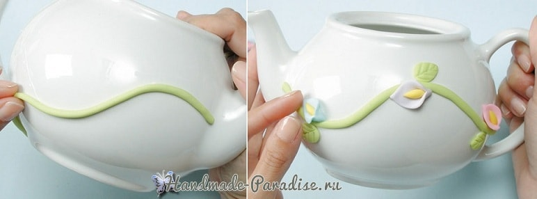 Декорирование чайной посуды лепкой (5)