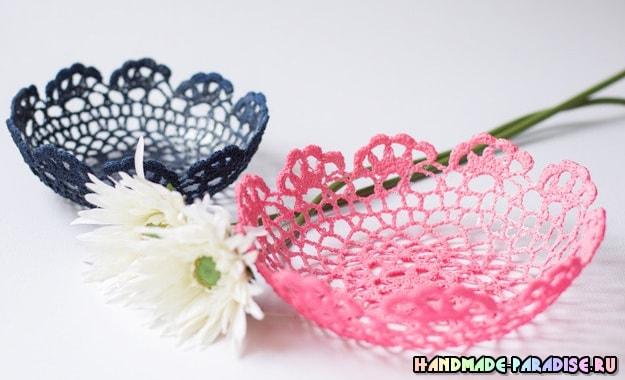 Декоративные вазочки из вязаных салфеток