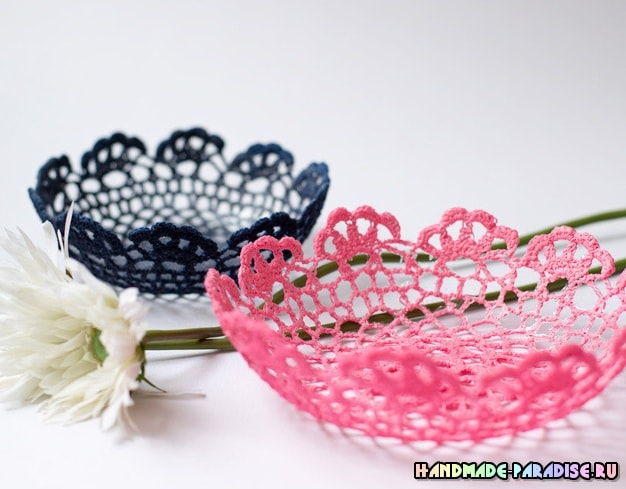 Как сделать вазочку из вязаной салфетки (2)