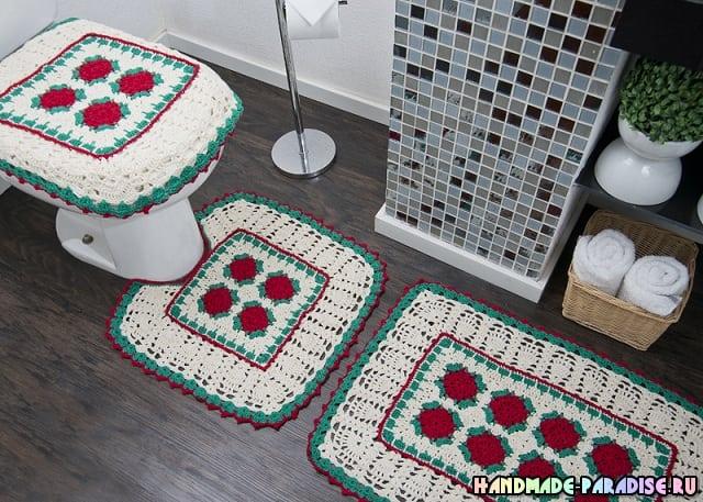 Коврики крючком для ванной комнаты (6)