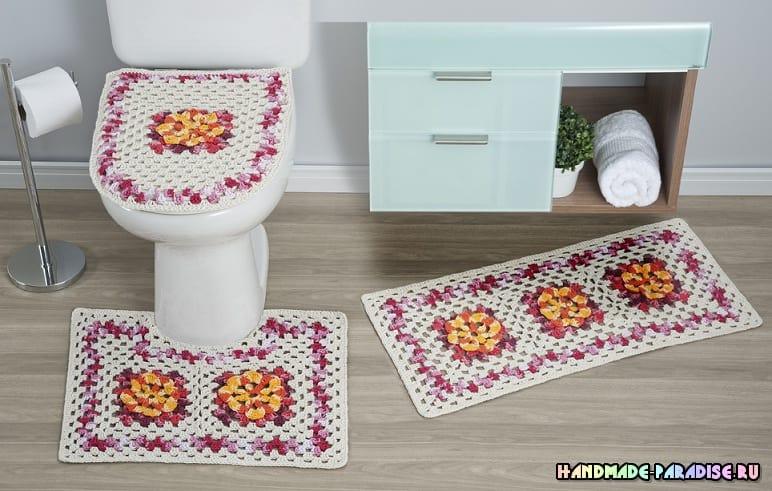 Коврики крючком для ванной комнаты (7)