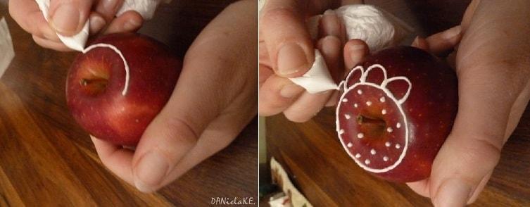 Рождественские яблоки с росписью глазурью (2)