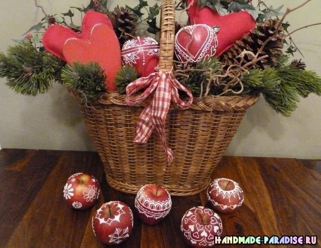 Рождественские яблоки с росписью глазурью (4)