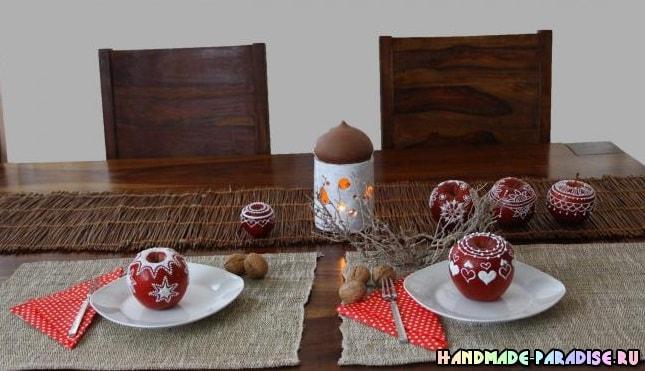 Рождественские яблоки с росписью глазурью (5)