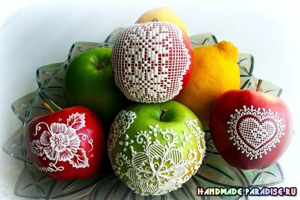 Рождественские яблоки с росписью глазурью (8)