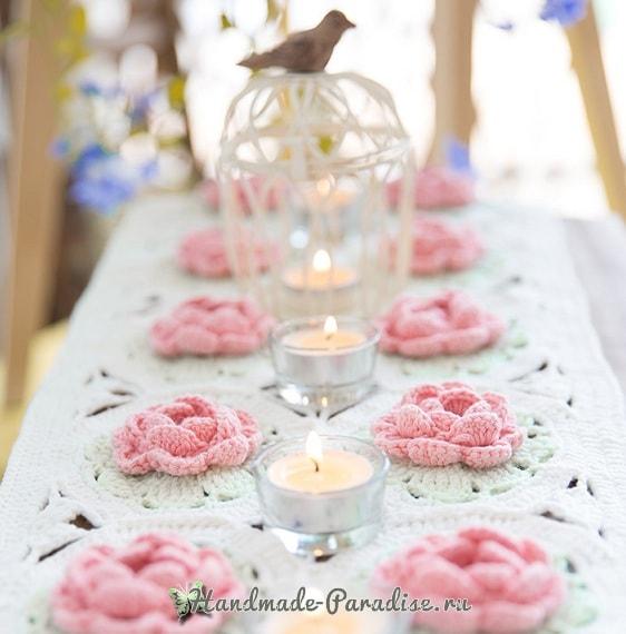 Розовое настроение. Подушка и салфетка крючком (5)