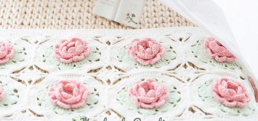 Розовое настроение. Подушка и салфетка крючком