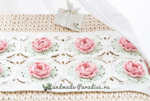 Розовое настроение. Подушка и салфетка крючком (7)