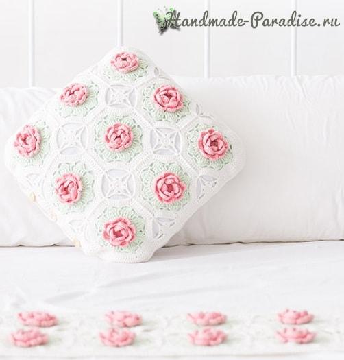 Розовое настроение. Подушка и салфетка крючком (8)