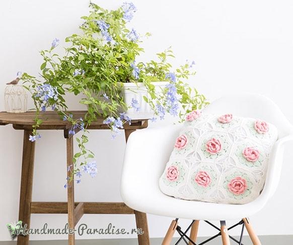 Розовое настроение. Подушка и салфетка крючком (9)