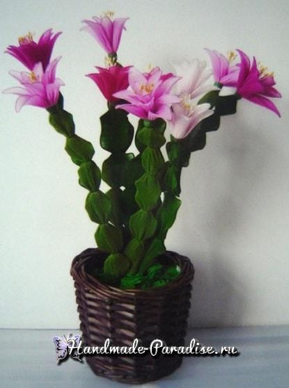 Цветок декабрист из капрона (2)