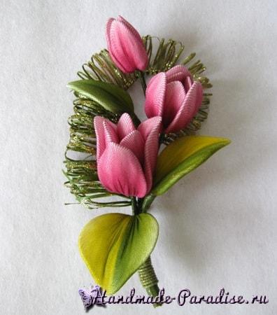 Брошь с тюльпанами из капрона (6)