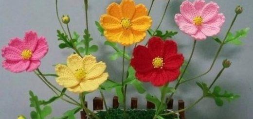 Весенние полевые цветы крючком. Схема