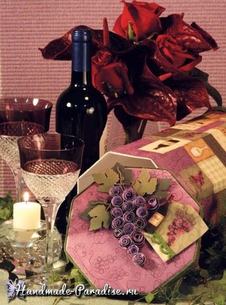 Винная коробка с виноградом своими руками
