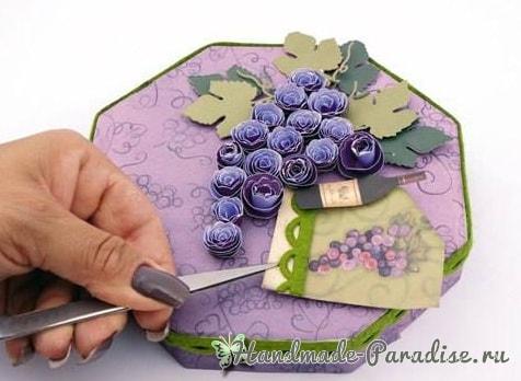 Винная коробка с виноградом своими руками (7)