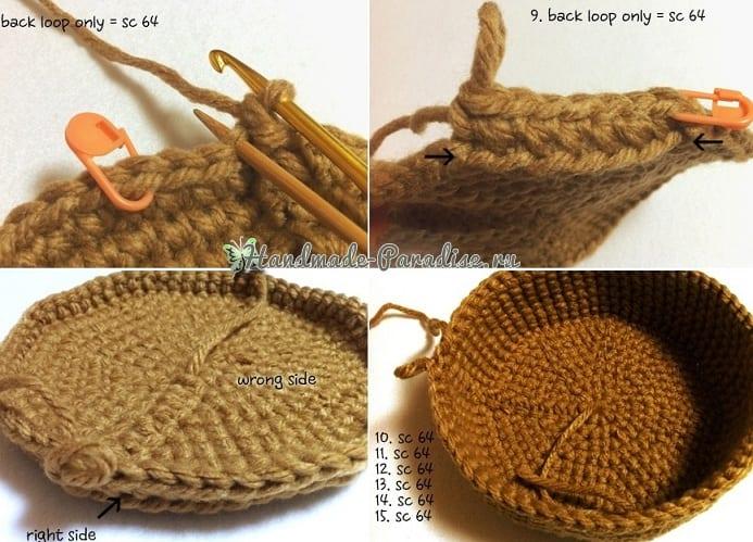 Вязание крючком корзинки для рукоделия (4)