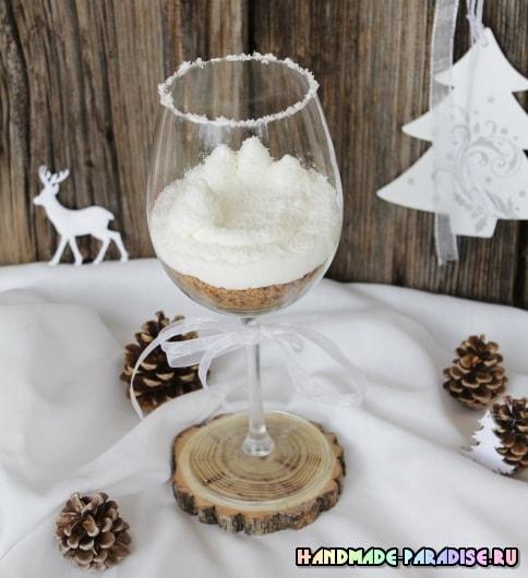 Зимняя сказка в бокале для украшения праздничного стола (4)