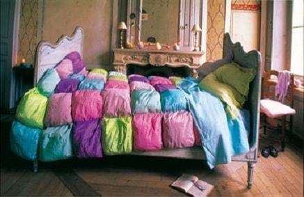 Шелковое лоскутное одеяло в технике пэчворк