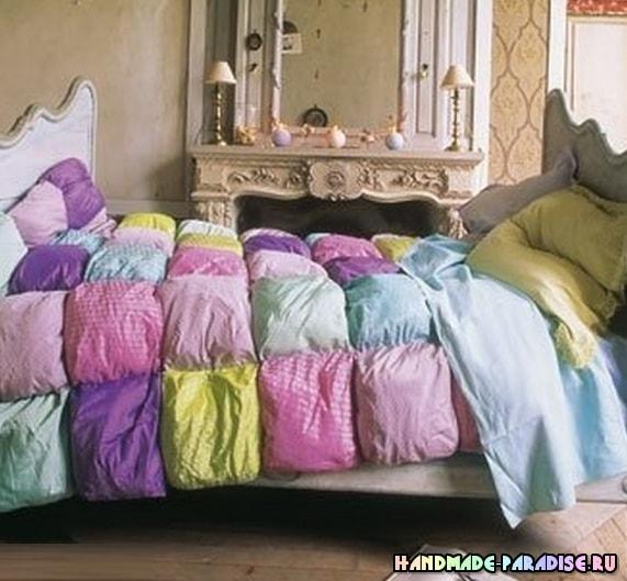 Шелковое лоскутное одеяло в технике пэчворк (3)