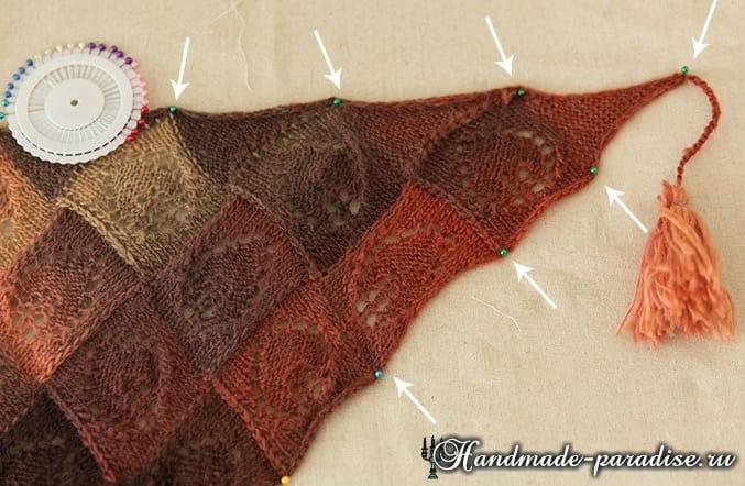 Ажурная шаль спицами мотивами листья (9)