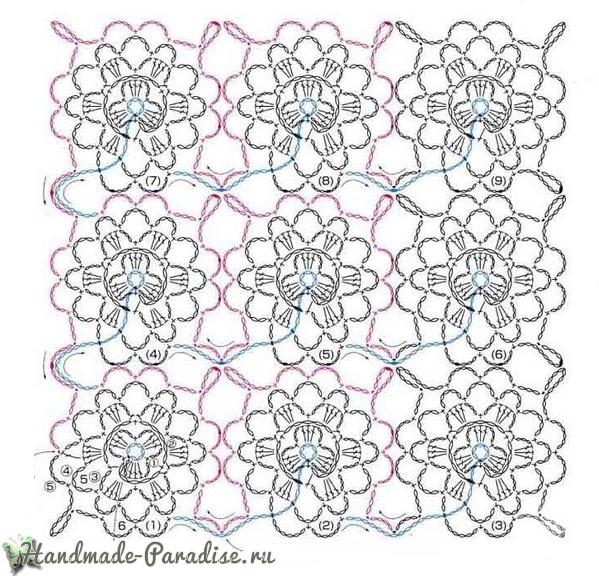 Вязание крючком. Схема безотрывного узора с розочками (4)