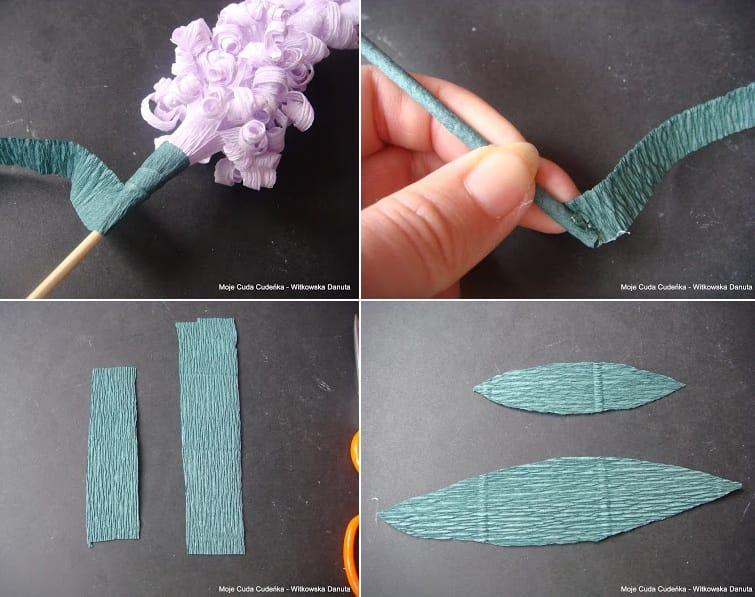 Гиацинты из гофрированной бумаги. Мастер-класс (7)