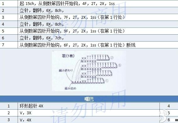 Лебедь белая крючком. Схема (6)