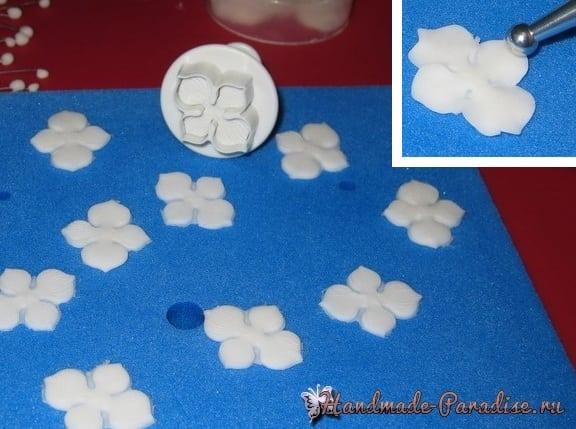 Лепка гортензии из сахарной мастики (4)