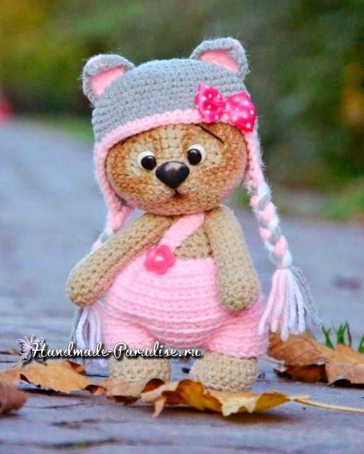 Медвежонок в шапочке. Амигуруми крючком (7)